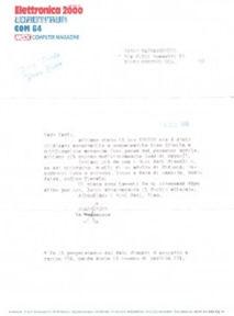 La lettera dell'Arcadia inviata a Carlo per la pubblicazione di Crunch su Load 'n' Run!